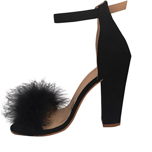 hunpta Womens Ladies Block High Heel Sandals Ankle Tie Up Artificial Fur Strappy Platforms Shoes Black wKpHs