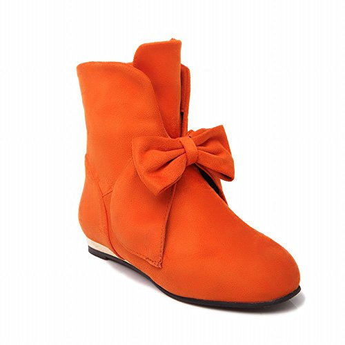 Show Shine Womens Charm Nubuck Bows Infront Ankle-high Boots Orange 2iJIhfo0mX