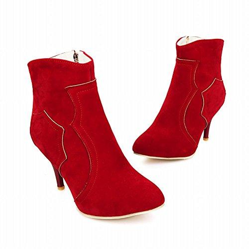 Carol Shoes Women's Charm Fashion High Heel Zip Concise Commuting Short Boots Red erzq5C