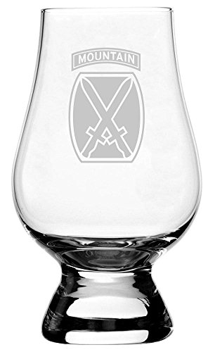 United States Army 10th Mountain Division Etched Glencairn Crystal Whisky Glass