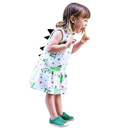 FEITONG Toddler Baby Girls Dress Cartoon Dinosaur Striped Print 3D Dorsal Fin Outfits (White, 3-4T) ()