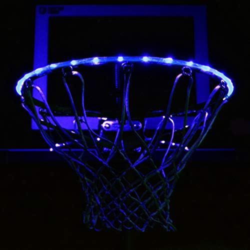 GlowCity LED Basketball Hoop Lights - Glow-in-The-Dark Rim Lights Full Size - Super-Bright to Play Longer Outdoors, Ideal for Kids, Adults, Parties and Training (Blue)