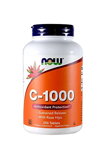 Now Foods Vitamin C-1000 Sustained Release with Rose Hips 250 Tabs (500 (250 X 2)) (Time Release 250 Tablets)