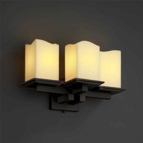 Mblk 8676 Matte (Justice Design CNDL-8676-19-CREM-MBLK CandleAria - Three Light Montana Wall Sconce, Glass Options: CREM: Cream Shade, Choose Finish: Matte Black Finish, Choose Lamping Option: Standard Lamping)