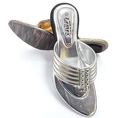 LEMEX Silver Thong Slipper For Women