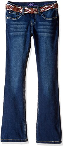 Belted Leather Jeans (Lee Big Girls' Multi-Stripe Leather Belted Boot Jean, Blueberry Cream,)