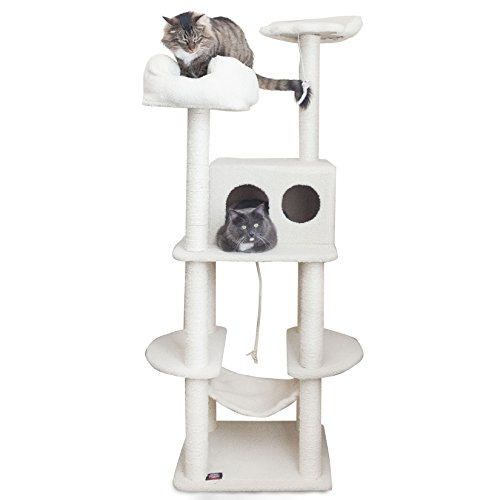 Majestic Pet Products 76 inch Cream Bungalow Cat Furniture Condo House Scratcher Multi Level Pet Activity Tree ()