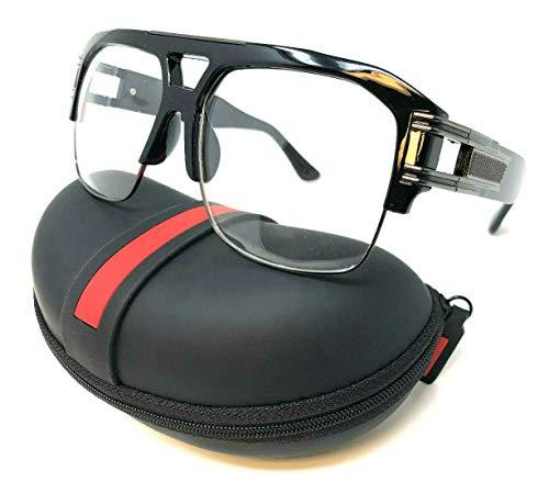 Gazelle B-Boy Square Metal & Plastic Retro Aviator Sunglasses (Black & Gunmetal Frame w/Case, Clear)