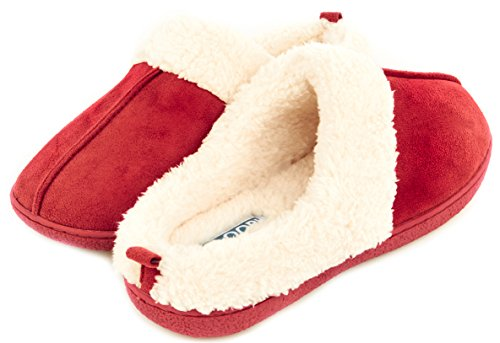 Floopi Womens Indoor Outdoor Fur Lined Clog Slipper W/Memory Foam (XL, Red-301)