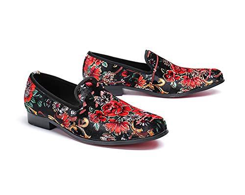 Chanteur Folk Casual Chaussures De Casual Shoes Rock Bureau personnalisé Cuir Affaires Pour Rétro Discothèque Fleurs Mariage Motif En Design Mens Eu42 Oqw8v
