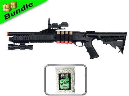 BBTac BT-BT180C2+10000BB RIS Package Pump Action Airsoft Shotgun with 10000 Ball Bearing and Flashlight/Mock Red Dot Scope by BBTac