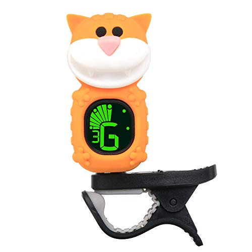 SWIFF Guitar Tuner, Clip-on Tuner for Guitar, Ukulele, Bass, Violin, Mandolin, and Banjo, Cartoon Cat Design, Highly Precise, Easy to Read, Auto Power-Off- Yellow