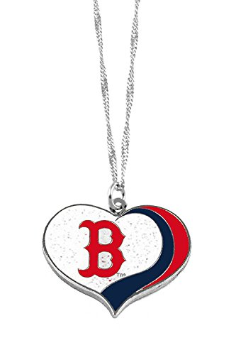 aminco Boston Red Sox MLB Sports Team Logo Charm Gift Glitter Heart Necklace