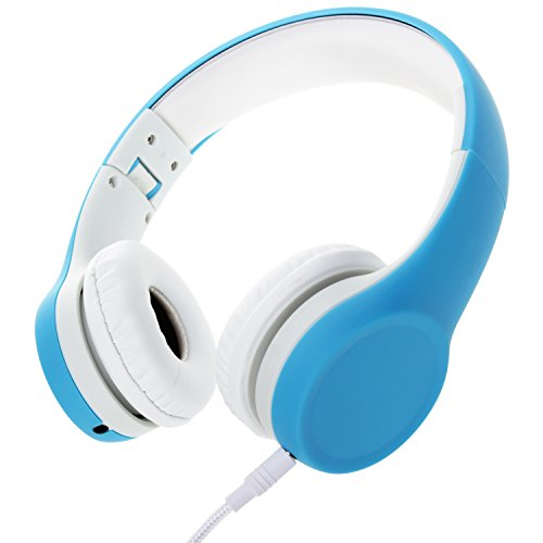 Volume Limited Wired Kids Headphones with Mic Detachable Cable and Sharing Music Ports for Children(Blue) (Blue Headphone Cable With Mic)