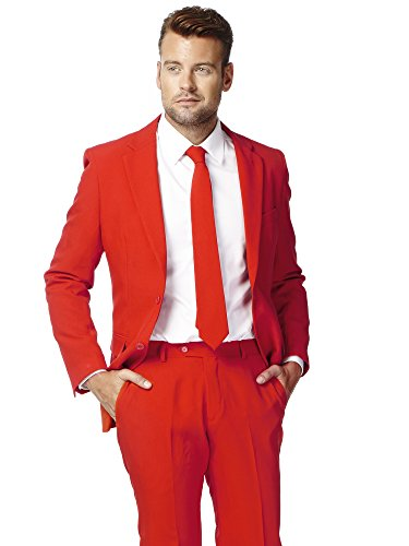 OppoSuits Men's Red Devil Party Costume Suit, Red,