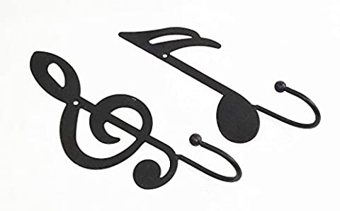 Aunt Chris' Products - 2 Items - Treble Clef Single Wall Hook & Black Double Flag Note - Single Hook Ball On The End - Black - Use Indoor Or Outdoor - Hang Light Coats, Hats, Towels, Purses and - Clef Hanger