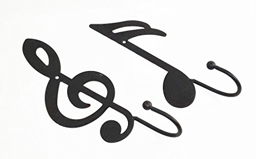Scroll Hanger Bracket - Aunt Chris' Products - 2 Items - Treble Clef Single Wall Hook & Black Double Flag Note - Single Hook Ball On The End - Black - Use Indoor Or Outdoor - Hang Light Coats, Hats, Towels, Purses and More
