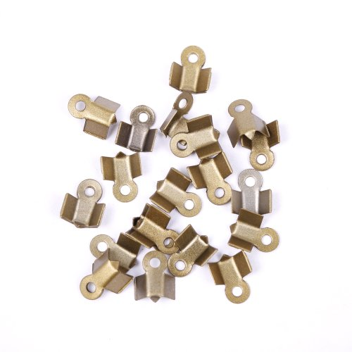 ILOVEDIY 500pcs Antique Bronze Fold Over Crimp Tubes End Beads 6mm for Jewelry Making