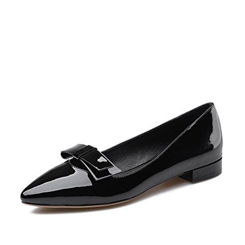 Las mujeres con poca luz señalaron los zapatos/arco charol zapatos de lazo/Zapatos de mujer casual de primavera A