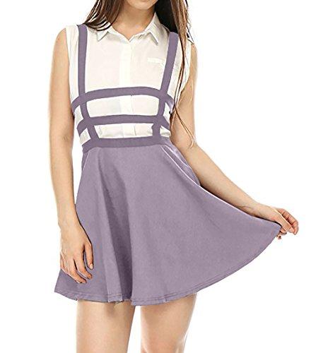 Fr?ulein Fox t Femmes Mini Jupe Personnalit Haute Taille Bandage Jupe de Fte Mode Bretelles Ajoure Jupes de Plage Violet Clair