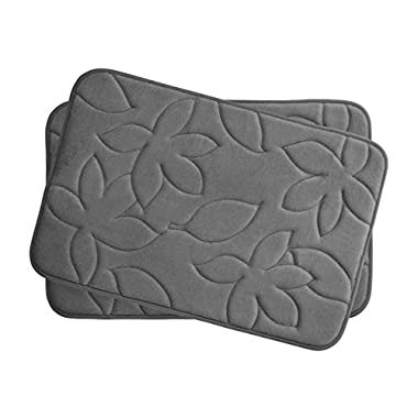 Bounce Comfort Blowing Leaves 2 Piece Memory Foam Bath Mat Set, 17 by 24 , Dark Grey