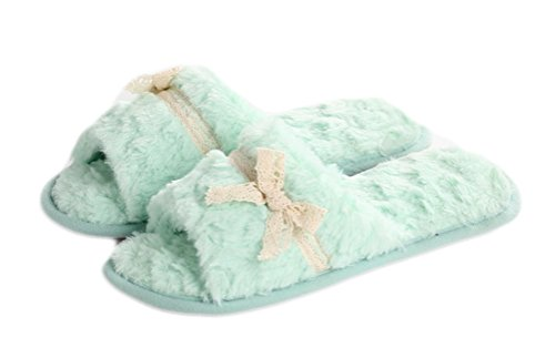 Fleece Auspicioso Mujer Pisos libre aire Moda Slip al Verde Zapatos encaje inicio Plush on Zapatilla Invierno de BXXwTrq5