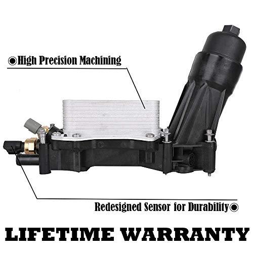 - 68105583AF Engine Oil Filter Adapter Housing Assembly Complete Kit Includes Temp Sensors, Bypass Valve, Spring, Filter w/ Gaskets fit 3.6 V6 Engine for Chrysler Dodge Jeep Ram 68105583AA 68105583AB
