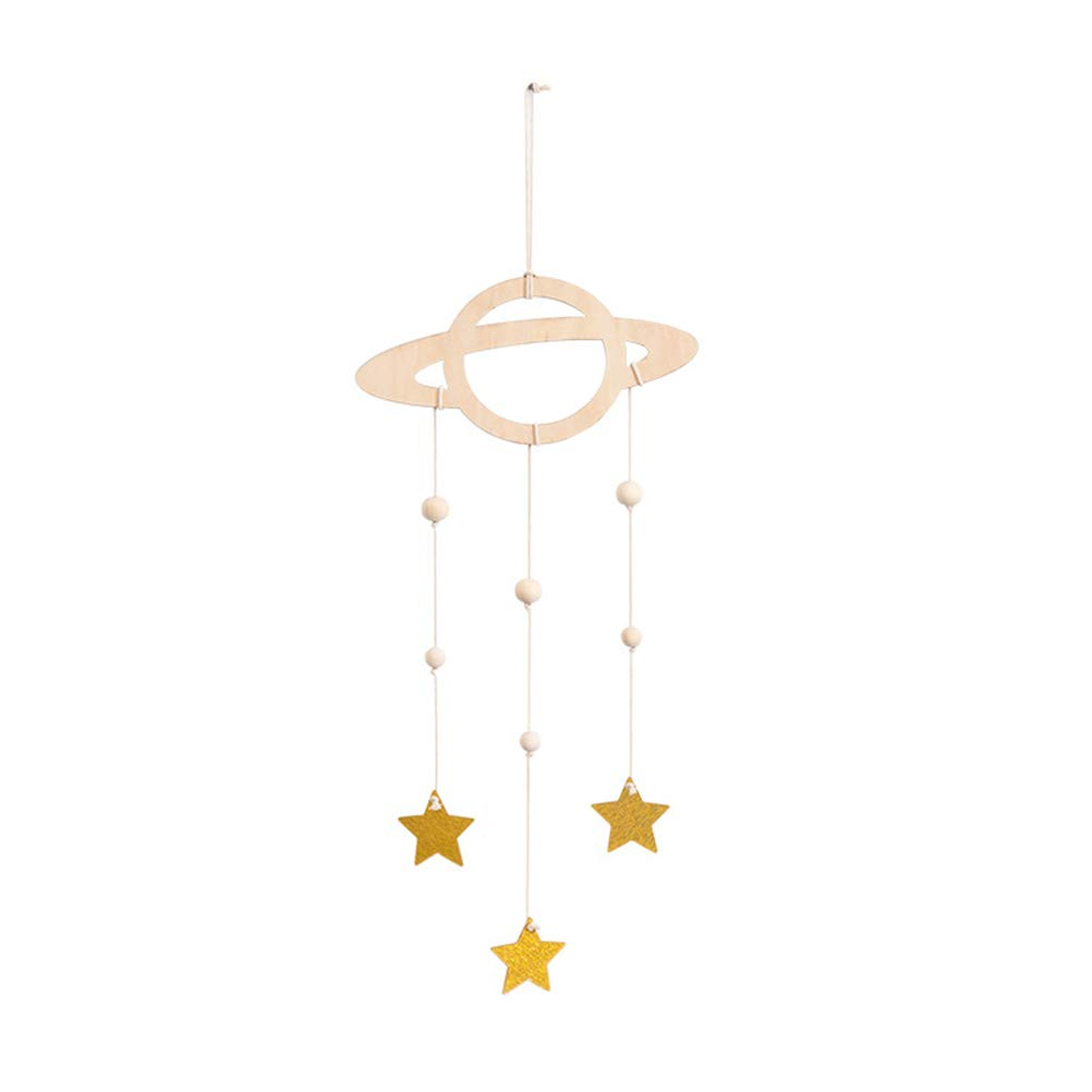 Amazon Com Lioobo Nursery Ceiling Mobile Wooden Planet Star