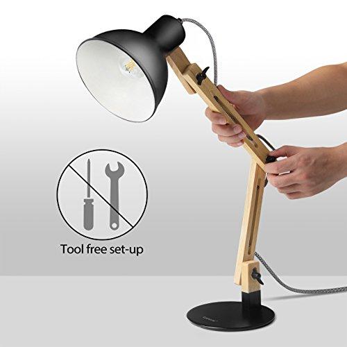 Tomons Swing Arm Led Desk Lamp Wood Designer Table Lamp