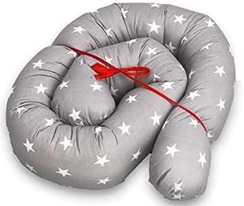protector cuna chichonera - Cama Bebé Cojín Parachoques Torre de Cama Cojín Protectores Para Cunas y Camas de Bebé Cuna Serpiente Protector Gris blanco 180 cm