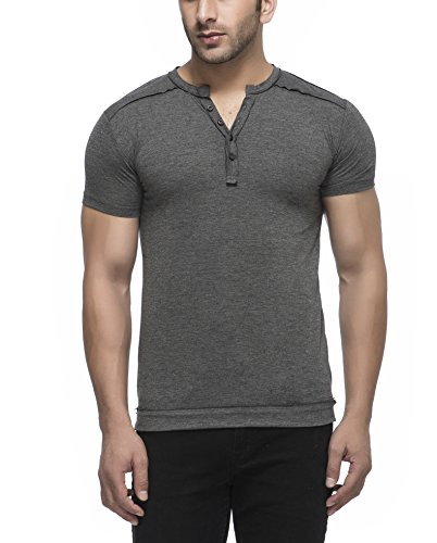 Tinted Men's Solid Henley Half Sleeve T-Shirt,Anthera,Large