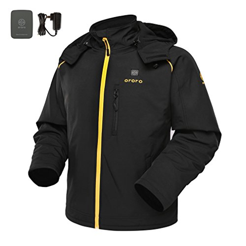 Price comparison product image ororo Men's Heated Jacket With Detachable Hood and Battery Pack (Black/Gold, L)