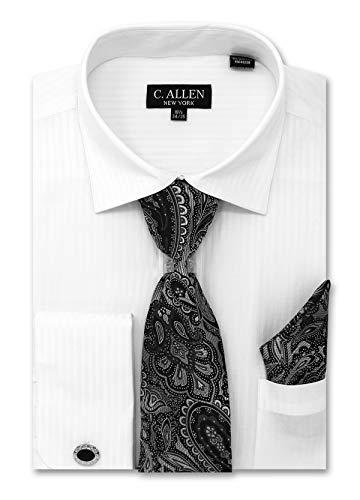 (C. Allen Men's Solid Striped Pattern Regular Fit Dress Shirts with Tie Hanky Cufflinks Combo 16.5 Neck 34/35 White)