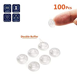 Made of good quality clear rubber material, durable and flexible. It can serve for a long time. Clear and transparent rubber dumper can match your home style well MOZOLAND 100 pieces clear self-adhesive cabinet door bumper...