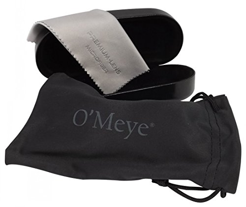 O'Meye Hard Clamshell eyeglass & Sunglasses Case - 3 Piece Set For Men & Women Case, Pouch, Premium-Lens Microfiber Cleaning Cloth, 100% Satisfaction - Best Sunglasses Review