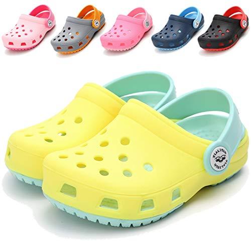 COSANKIM Toddler Kids Boys Girls Classic Clogs Lightweight Summer Water Garden Shoes Slides Sandals Slip On Beach Slippers(Toddler/Little Kids) (10 M US Toddler, A-Yellow Clogs Kids