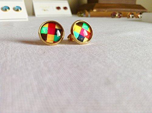 Multicolour Check (60s Check Pattern Stud Earrings Multicolor)