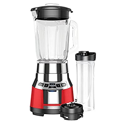 BLACK+DECKER BL1821RG-P FusionBlade Digital Blender with 6-Cup Glass Jar and 20 Ounce BPA-Free Portable Personal Blender Jar, Red/Stainless Steel Blender