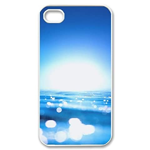 iphone4 4s Case,Crystal Clear Blue Sea Pattern Best Durable Hard Plastic Phone Case for iphone4 4s [Creative (Iphone4 Tough Cases)