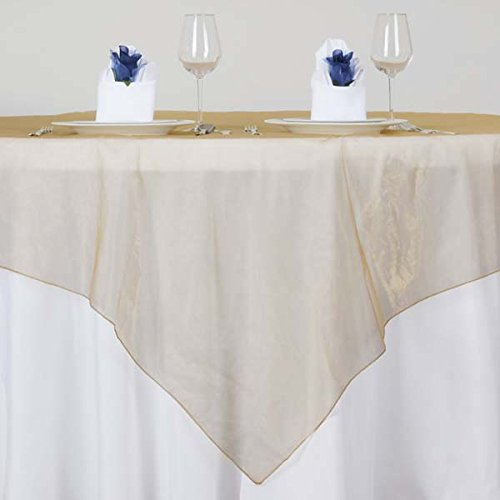 (Efavormart 5pcs Gold Organza Square Tablecloth Overlay 72x72 Square Tablecloth Cover for Wedding Party Event Banquet)