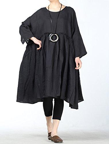Maxikleider Linie Schwarz Kleider Damen Größe Plus A Mallimoda Leinenkleid pHZR0Wq