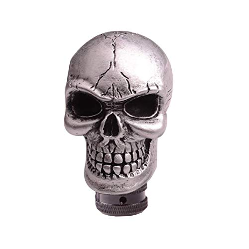 SMKJ Universal Bone Resin Skull Head Style Car Shift Knob Shifter Knobs Lever Gear Stick for Most Manual or Automatic Transmission Vehicles(Silver) (Skull Head Car)