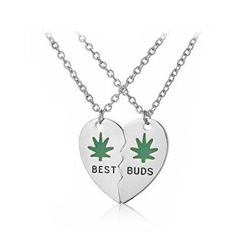 Best Buds cannabis leaf friendship necklaces ,Heart necklace, silver or gold (silver)