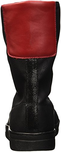 Bikkembergs Bounce 720 Low Boot W Leather/S.Leather Stretch, Zapatillas Altas para Mujer Negro / Rojo