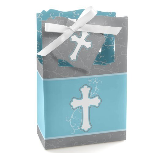 - Little Miracle Boy Blue & Gray Cross - Baptism or Baby Shower Favor Boxes - Set of 12