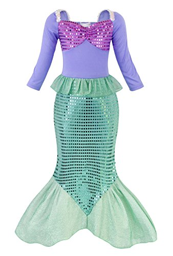 Cotrio Little Mermaid Costume Girls Princess Fancy Dress Ariel Sequins Dresses Long Sleeve Halloween Party Outfit Size 10 (8-9Years, Purple Green, 140)]()