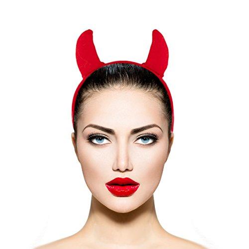 [Lux Accessories Red Fabric Devil Halloween Costume Accessory Headband] (Red Devil Costume)
