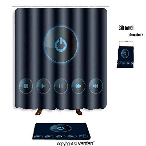vanfan bath sets with Polyester rugs and shower curtain Set of Media player icons_18202523 shower curtains sets bathroom 72 x 88 inches&31.5 x 19.7 inches(Free 1 towel and 12 hooks)