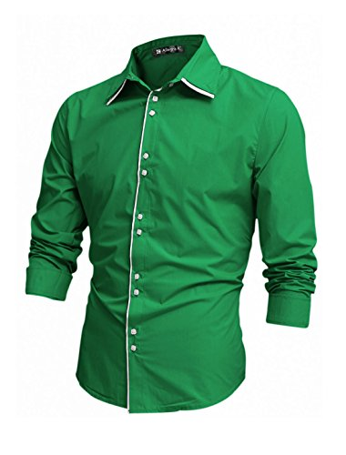 Allegra K Men Cool Tiered Single Breasted Long-sleeved Shirt S Bright Green (Single Tiered)