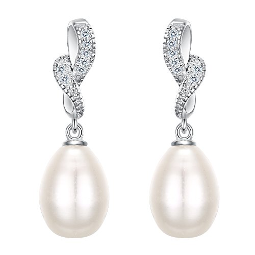 EleQueen 925 Sterling Silver CZ AAA Ribbon Ivory Color Freshwater Cultured Pearl Wedding Earrings For Brides